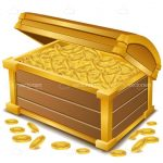 Wooden Treasure Chest Filled With Gold
